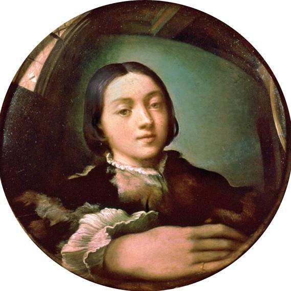 Parmigianino, Selbstportrait in Hohlspiegel (zu: Jacques Lacan, Spiegelstadium)