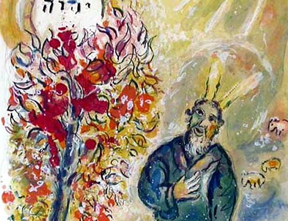 Chagall, Moses am brennenden Busch - zu: Vater
