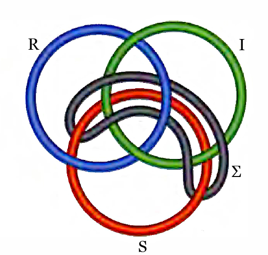 Borromäischer Viererknoten mit 3 Ringen