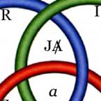 Borromäischer Knoten - nur J-A Kopie (zu: Jacques Lacan, Genießen des ausgestrichenen Anderen)