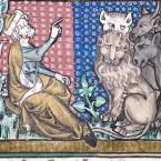 Adam benennt die Tiere - Sankt Petersburg Bestiarium, 14. Jh.
