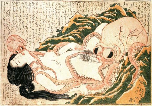 Hokusai, Der Traum der Fischersfrau, Holzschnitt, 1814
