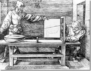 Dürer - Underweysung der Messung - 1525 (zu Jacques Lacans Schema von Auge und Blick)