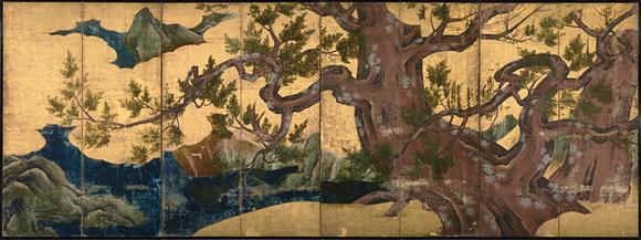 Kanō Eitoku (zugeschrieben), Zypresse, Momoyama-Periode (1573-1615), achtteiliger Wandschirm, 170 x 460,5 cm, Tinte auf Papier mit Blattgold, von hier (zu Lacans Aufsatz über den Buchstaben: Lituraterre - Buchstabe vs. Signifikant)