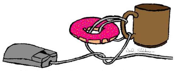 Borromäische Verschlingung von Henkelbecher und Donut (borromäischer Knoten, Kommentar zu  Das Sinthom)