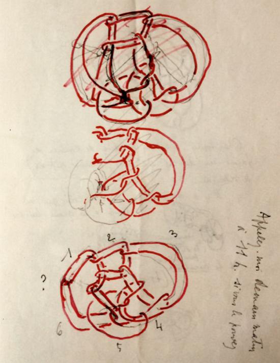 Zeichnung von Jacques Lacan im Brief an Pierre Soury vom 15. 12. 1977