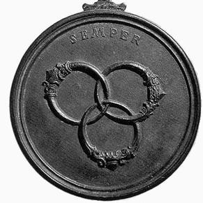 Medaille von Cosimo di Medici mit borromäischen Ringen (zu: Knotentheorie von Jacques Lacan)