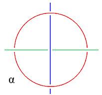 Abb 9 - Borromäischer Knoten projektive Darstellung - blau unter rot - mit Alpha